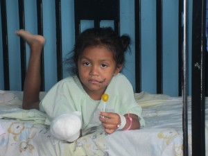 Little child (Amanda) injured by flying bullets