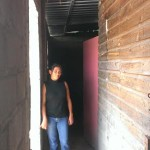 Nela between outside new wall & older inner wood wall